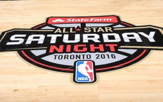 TORONTO, ON - FEBRUARY 13:  StateFarm All-Star Saturday Night logo during the Taco Bell Skills Challenge as part of NBA All-Star 2016 on February 13, 2016 at Air Canada Centre in Toronto, Ontario Canada. NOTE TO USER: User expressly acknowledges and agrees that, by downloading and/or using this photograph, user is consenting to the terms and conditions of the Getty Images License Agreement.  Mandatory Copyright Notice: Copyright 2016 NBAE (Photo by Joe Murphy/NBAE via Getty Images)
