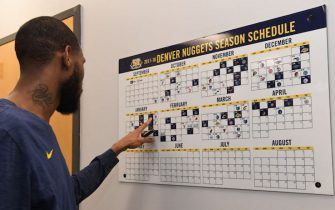DENVER, CO - JANUARY 5:  Will Barton #5 of the Denver Nuggets looks on the team calendar in the locker room before the game against the Utah Jazz on January 5, 2018 at the Pepsi Center in Denver, Colorado. NOTE TO USER: User expressly acknowledges and agrees that, by downloading and/or using this Photograph, user is consenting to the terms and conditions of the Getty Images License Agreement. Mandatory Copyright Notice: Copyright 2018 NBAE (Photo by Garrett Ellwood/NBAE via Getty Images)