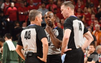 TORONTO, CANADA - MAY 19: Referees Scott Foster, Tom Washington and Ed Malloy discuss a call during Game Three of the Eastern Conference Finals of the 2019 NBA Playoffs on May 19, 2019 at the Scotiabank Arena in Toronto, Ontario, Canada.  NOTE TO USER: User expressly acknowledges and agrees that, by downloading and or using this Photograph, user is consenting to the terms and conditions of the Getty Images License Agreement.  Mandatory Copyright Notice: Copyright 2019 NBAE (Photo by Ron Turenne/NBAE via Getty Images)