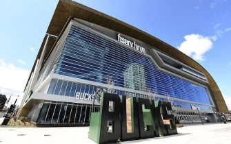 MILWAUKEE, WI - APRIL 30: A general view of the exterior of the Fiserv Forum, home of the Milwaukee Bucks, on April 30, 2020 in Milwaukee, Wisconsin. The NBA may allow practice facilities to reopen on May 8 that have been closed due to the COVID-19 pandemic. (Photo by Stacy Revere/Getty Images)