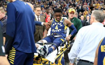 INDIANAPOLIS, INDIANA - JANUARY 23:  Victor Oladipo #4  of the Indiana Pacers is taken off of the court on a stretcher after being injured in the second quarter of the game against the Toronto Raptors  at Bankers Life Fieldhouse on January 23, 2019 in Indianapolis, Indiana. (Photo by Andy Lyons/Getty Images)