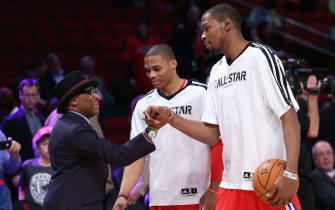 during the 2013 NBA All-Star game at the Toyota Center on February 17, 2013 in Houston, Texas. NOTE TO USER: User expressly acknowledges and agrees that, by downloading and or using this photograph, User is consenting to the terms and conditions of the Getty Images License Agreement.