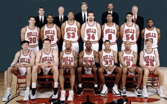 CHICAGO - 1996: The 1995-96 NBA Chicago Bulls pose for a team portrait in Chicago, IL. Front row (left to right): Toni Kukoc, Luc Longley, Dennis Rodman, Michael Jordan, Scottie Pippen, Ron Harper, Steve Kerr. Second row: Jud Buechler, Jason Caffey, James Edwards, Bill Wennington, Dickey Simpkins, Jack Haley, Randy Brown. Back Row: John Paxson, Jimmy Rodgers, Head coach Phil Jackson, Jim Cleamons, and Tex Winter. NOTE TO USER: User expressly acknowledges  and agrees that, by downloading and or using this  photograph, User is consenting to the terms and conditions of the Getty Images License Agreement. Mandatory copyright notice: Copyright NBAE 1996 (Photo by NBA Photo Library/ NBAE/ Getty Images)