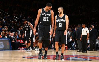 NEW YORK, NY - NOVEMBER 2: Tim Duncan #21 and Tony Parker #9 of the San Antonio Spurs during the game against the New York Knicks on November 2, 2015 at Madison Square Garden in New York, New York. NOTE TO USER: User expressly acknowledges and agrees that, by downloading and or using this Photograph, user is consenting to the terms and conditions of the Getty Images License Agreement. Mandatory Copyright Notice: Copyright 2015 NBAE (Photo by Nathaniel S. Butler /NBAE via Getty Images)