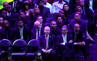 LOS ANGELES, CALIFORNIA - FEBRUARY 24: Chris Bosh, Tim Duncan, DeMar DeRozan, Rudy Gay, Gregg Popovich and Tony Parker attend The Celebration of Life for Kobe & Gianna Bryant at Staples Center on February 24, 2020 in Los Angeles, California. (Photo by Kevork Djansezian/Getty Images)