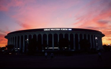 AN EXTERIOR VIEW OF THE GREAT WESTERN FORUM IN INGLEWOOD, California.