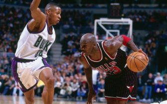 MILWAUKEE, WI - 1997: Michael Jordan #23 of the Chicago Bulls drives to the basket against Ray Allen #34 of the Milwaukee Bucks during the game on January 10, 1997 at the Bradley Center in Milwaukee, Wisconsin. NOTE TO USER: User expressly acknowledges and agrees that, by downloading and or using this Photograph, user is consenting to the terms and conditions of the Getty Images License Agreement. Mandatory Copyright Notice: Copyright 1997 NBAE (Photo by Gary Dineen/NBAE via Getty Images)