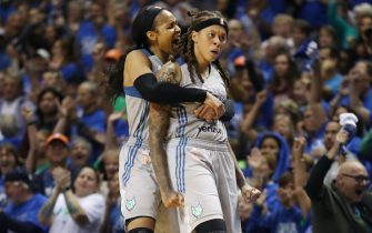 MINNEAPOLIS, MN - SEPTEMBER 26: Maya Moore #23 and Seimone Augustus #33 of the Minnesota Lynx react to a play against the Los Angeles Sparks in Game Two of the 2017 WNBA Finals on September 26, 2017 at Williams Arena, University of Minnesota, in Minneapolis, Minnesota. NOTE TO USER: User expressly acknowledges and agrees that, by downloading and or using this Photograph, user is consenting to the terms and conditions of the Getty Images License Agreement. Mandatory Copyright Notice: Copyright 2017 NBAE (Photo by Jordan Johnson/NBAE via Getty Images)