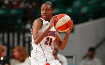 CHARLOTTE, NC - JUNE 16:  Tynesha Lewis #20 of the Charlotte Sting controls the ball against the Indiana Fever during the WNBA game on June 16, 2005 at the Charlotte Coliseum in Charlotte, North Carolina. The Fever won 60-75.  NOTE TO USER: User expressly acknowledges and agrees that, by downloading and or using this photograph, User is consenting to the terms and conditions of the Getty Images License Agreement.  Mandatory Copyright Notice:  Copyright 2005 NBAE (Photo by Kent Smith/NBAE via Getty Images)