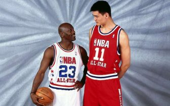 ATLANTA - FEBRUARY 9:  Yao Ming #11 of the Western Conference All-Stars and Michael Jordan #23 of the Eastern Conference All-Stars pose for a portrait prior to the 52nd NBA All-Star Game at the Phillips Arena on February 9, 2003 in Atlanta, Georgia.  NOTE TO USER: User expressly acknowledges and agrees that, by downloading and/or using this Photograph, User is consenting to the terms and conditions of the Getty Images License Agreement  Mandatory Copyright Notice:  Copyright 2003 NBAE  (Photo by Nathaniel S. Butler/NBAE via Getty Images)