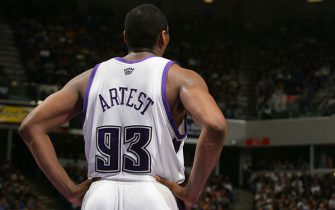 SACRAMENTO, CA - JANUARY 31:  Ron Artest #93 of the Sacramento Kings looks on against the Denver Nuggets at Arco Arena on January 31, 2006 in Sacramento, California.  The Kings won 98-91.   NOTE TO USER: User expressly acknowledges and agrees that, by downloading and/or using this Photograph, user is consenting to the terms and conditions of the Getty Images License Agreement. Mandatory Copyright Notice: Copyright 2006 NBAE (Photo by Rocky Widner/NBAE via Getty Images) *** Local Caption *** Ron Artest