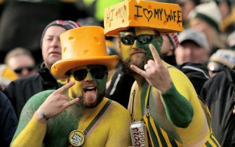 GREEN BAY, WISCONSIN - DECEMBER 08: Fans pose for a photo during the game between the Washington Redskins and Green Bay Packers at Lambeau Field on December 08, 2019 in Green Bay, Wisconsin. (Photo by Dylan Buell/Getty Images)
