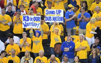 OAKLAND, CA - JUNE 13: Warriors fans hold signs to support Kevin Durant #35 of the Golden State Warriors during Game Six of the NBA Finals on June 13, 2019 at ORACLE Arena in Oakland, California. NOTE TO USER: User expressly acknowledges and agrees that, by downloading and/or using this photograph, user is consenting to the terms and conditions of Getty Images License Agreement. Mandatory Copyright Notice: Copyright 2019 NBAE (Photo by Noah Graham/NBAE via Getty Images)