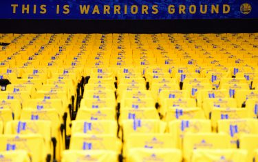 OAKLAND, CA - APRIL 24: Shirts are laid out for fans before Game Five of Round One between the LA Clippers and the Golden State Warriors during the 2019 NBA Playoffs on April 24, 2019 at ORACLE Arena in Oakland, California. NOTE TO USER: User expressly acknowledges and agrees that, by downloading and/or using this photograph, user is consenting to the terms and conditions of Getty Images License Agreement. Mandatory Copyright Notice: Copyright 2019 NBAE (Photo by Noah Graham/NBAE via Getty Images)