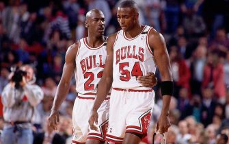 CHICAGO - MAY 19:  Michael Jordan #23 comforts teammate Horace Grant #54 of the Chicago Bulls during Game One of the Eastern Conference Finals against the Cleveland Cavaliers played on May 19, 1992 at Chicago Stadium in Chicago, Illinois.  NOTE TO USER: User expressly acknowledges and agrees that, by downloading and/or using this Photograph, user is consenting to the terms and conditions of the Getty Images License Agreement.  Mandatory Copyright Notice:  Copyright 1992 NBAE  (Photo by Nathaniel S. Butler/NBAE via Getty Images)