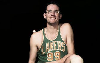 (Original Caption) Minneapolis Lakers basketball player George Mikan is shown in this photograph.