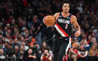 PORTLAND, OREGON - FEBRUARY 21: CJ McCollum #3 of the Portland Trail Blazers dribbles against the New Orleans Pelicans in the first quarter during their game at Moda Center on February 21, 2020 in Portland, Oregon.  NOTE TO USER: User expressly acknowledges and agrees that, by downloading and or using this photograph, User is consenting to the terms and conditions of the Getty Images License Agreement. (Photo by Abbie Parr/Getty Images)
