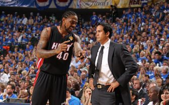 DALLAS, TX - JUNE 09: Udonis Haslem #40 talks to Head Coach Erik Spoelstra of the Miami Heat  during Game Five of the 2011 NBA Finals against the Dallas Mavericks on June 09, 2011 at the American Airlines Center in Dallas, Texas. NOTE TO USER: User expressly acknowledges and agrees that, by downloading and/or using this photograph, user is consenting to the terms and conditions of the Getty Images License Agreement.  Mandatory Copyright Notice: Copyright 2011 NBAE (Photo by Nathaniel S. Butler/NBAE via Getty Images)