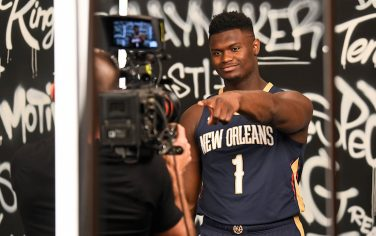 MADISON, NJ - AUGUST 11: A behind the scenes photo of  Zion Williamson #1 of the New Orleans Pelicans during the 2019 NBA Rookie Photo Shoot on August 11, 2019 at Fairleigh Dickinson University in Madison, New Jersey. NOTE TO USER: User expressly acknowledges and agrees that, by downloading and or using this photograph, User is consenting to the terms and conditions of the Getty Images License Agreement. Mandatory Copyright Notice: Copyright 2019 NBAE (Photo by Catalina Fragoso/NBAE via Getty Images)