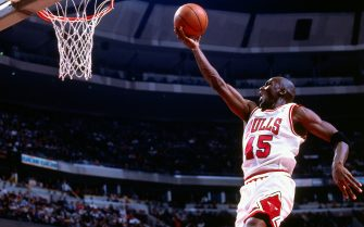 CHICAGO - MARCH 24: Michael Jordan #45 of the Chicago Bulls shoots against the Orlando Magic on March 24, 1995 at United Center in Chicago, Illinois. This game is Michael Jordan's first at United Center since announcing his comeback.  NOTE TO USER: User expressly acknowledges and agrees that, by downloading and or using this photograph, User is consenting to the terms and conditions of the Getty Images License Agreement. Mandatory Copyright Notice: Copyright 1995 NBAE (Photo by Nathaniel S. Butler/NBAE via Getty Images)