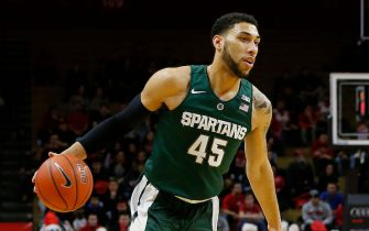 PISCATAWAY, NJ - MARCH 2: Denzel Valentine #45 of the Michigan State Spartans in action against the Rutgers Scarlet Knights during the first half of a college basketball game at the Rutgers Athletic Center on March 2, 2016 in Piscataway, New Jersey. Michigan State defeated Rutgers 97-66. (Photo by Rich Schultz /Getty Images)