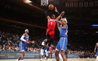 NEW YORK, NY - MARCH 2: Russell Westbrook #0 of the Houston Rockets dunks the ball against the New York Knicks on March 2, 2020 at Madison Square Garden in New York City, New York.  NOTE TO USER: User expressly acknowledges and agrees that, by downloading and or using this photograph, User is consenting to the terms and conditions of the Getty Images License Agreement. Mandatory Copyright Notice: Copyright 2020 NBAE  (Photo by Nathaniel S. Butler/NBAE via Getty Images)