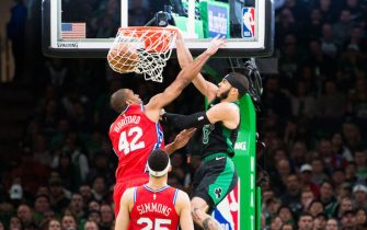 BOSTON, MA - FEBRUARY 1: Jayson Tatum #0 of the Boston Celtics dunks on Al Horford #42 of the Philadelphia 76ers at TD Garden on February 1, 2020 in Boston, Massachusetts. NOTE TO USER: User expressly acknowledges and agrees that, by downloading and or using this photograph, User is consenting to the terms and conditions of the Getty Images License Agreement. (Photo by Kathryn Riley/Getty Images)
