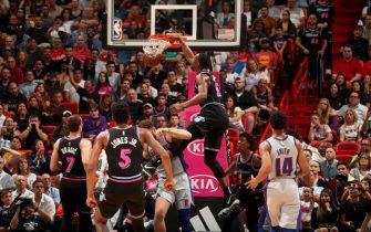 MIAMI, FL - FEBRUARY 23: Bam Adebayo #13 of the Miami Heat dunks the ball during the game against the Detroit Pistons on February 23, 2019 at American Airlines Arena in Miami, Florida. NOTE TO USER: User expressly acknowledges and agrees that, by downloading and or using this Photograph, user is consenting to the terms and conditions of the Getty Images License Agreement. Mandatory Copyright Notice: Copyright 2019 NBAE (Photo by Issac Baldizon/NBAE via Getty Images)
