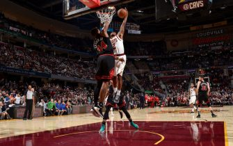 CLEVELAND, OH - OCTOBER 30: Collin Sexton #2 of the Cleveland Cavaliers dunks the ball against the Chicago Bulls on October 30, 2019 at Quicken Loans Arena in Cleveland, Ohio. NOTE TO USER: User expressly acknowledges and agrees that, by downloading and/or using this Photograph, user is consenting to the terms and conditions of the Getty Images License Agreement. Mandatory Copyright Notice: Copyright 2019 NBAE (Photo by David Liam Kyle/NBAE via Getty Images)