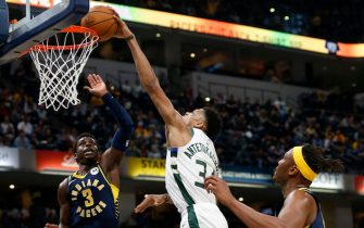 INDIANAPOLIS, INDIANA - NOVEMBER 16: Giannis Antetokounmpo #34 of the Milwaukee Bucks dunks the ball in the game against the Indiana Pacers at Bankers Life Fieldhouse on November 16, 2019 in Indianapolis, Indiana. NOTE TO USER: User expressly acknowledges and agrees that, by downloading and/or using this Photograph, user is consenting to the terms and conditions of the Getty Images License Agreement. (Photo by Justin Casterline/Getty Images)