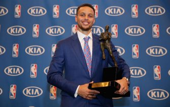 Stephen Curry of the Golden State Warriors is awarded the NBA Most Valuable Player Award during a press conference at ORACLE Arena on May 10, 2016 in Oakland, California. *** Local Caption *** Stephen Curry