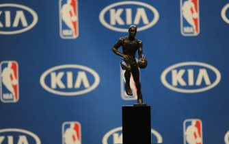 OAKLAND, CA - MAY 10:  The Maurice Podoloff Trophy is seen at a press conference where it was announced that Stephen Curry won the 2015-16 Kia Most Valuable Player Award on May 10, 2016 at Oracle Arena in Oakland, California. NOTE TO USER: User expressly acknowledges and agrees that, by downloading and or using this photograph, user is consenting to the terms and conditions of Getty Images License Agreement. Mandatory Copyright Notice: Copyright 2016 NBAE (Photo by Noah Graham/NBAE via Getty Images)
