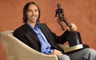 PHOENIX - MAY 7:  Steve Nash of the Phoenix Suns poses with the NBA Most Valuable Player award on May 7, 2006 at US Airways Center in Phoenix, Arizona.  NOTE TO USER: User expressly acknowledges and agrees that, by downloading and/or using this Photograph, user is consenting to the terms and conditions of the Getty Images License Agreement. Mandatory Copyright Notice: Copyright 2006 NBAE  (Photo by Andrew D. Bernstein/NBAE via Getty Images)