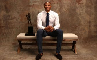 NEW YORK, NY - JUNE 26:  Russell Westbrook of the Oklahoma City Thunder poses for a portrait after receiving the Kia NBA Most Valuable Player Award at the NBA Awards Show on June 26, 2017 at Basketball City at Pier 36 in New York City, New York. NOTE TO USER: User expressly acknowledges and agrees that, by downloading and or using this photograph, user is consenting to the terms and conditions of Getty Images License Agreement. Mandatory Copyright Notice: Copyright 2017 NBAE (Photo by Michael J. LeBrecht II/NBAE via Getty Images)