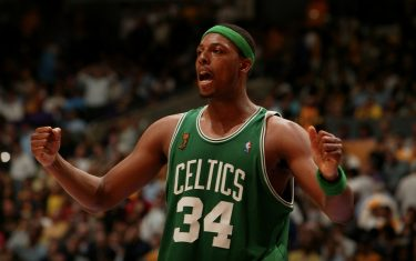 LOS ANGELES - JUNE 12:  Paul Pierce #34 of the Boston Celtics celebrates against the Los Angeles Lakers during Game Four of the 2008 NBA Finals on June 12, 2008 at the Staples Center in Los Angeles, California.  NOTE TO USER:User expressly acknowledges and agrees that, by downloading and/or using this Photograph, user is consenting to the terms and conditions of the Getty Images License Agreement. Mandatory Copyright Notice: Copyright 2008 NBAE (Photo by Garrett Ellwood/NBAE via Getty Images)