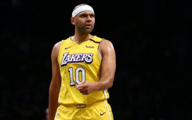 NEW YORK, NEW YORK - JANUARY 23:  Jared Dudley #10 of the Los Angeles Lakers in action against the Brooklyn Netsat Barclays Center on January 23, 2020 in New York City. NOTE TO USER: User expressly acknowledges and agrees that, by downloading and or using this photograph, User is consenting to the terms and conditions of the Getty Images License Agreement. (Photo by Mike Stobe/Getty Images)