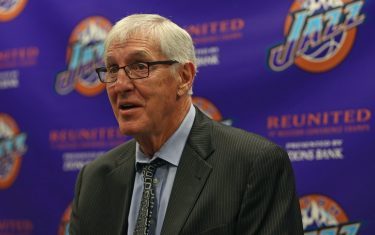 SALT LAKE CITY, UT - MARCH 22:  Former Utah Jazz, Jerry Sloan talks to the media during a press conference before the New York Knicks game against the Utah Jazz on March 22, 2017 at vivint.SmartHome Arena in Salt Lake City, Utah. NOTE TO USER: User expressly acknowledges and agrees that, by downloading and or using this Photograph, User is consenting to the terms and conditions of the Getty Images License Agreement. Mandatory Copyright Notice: Copyright 2017 NBAE (Photo by Melissa Majchrzak/NBAE via Getty Images)