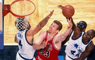 ORLANDO, FL -  DECEMBER 10: Joe Kleine #53 of the Chicago Bulls shoots the ball against the Orlando Magic on December 10, 1997 at the Amway Center in Orlando, Florida. NOTE TO USER: User expressly acknowledges and agrees that, by downloading and or using this Photograph, user is consenting to the terms and conditions of the Getty Images License Agreement. Mandatory Copyright Notice: Copyright 1997 NBAE (Photo by Fernando Medina/NBAE via Getty Images)