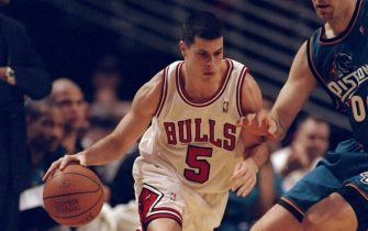 2 Mar 1999:  Rusty LaRue #5 of the Chicago Bulls dribbling the ball during the game against the Detroit Pistons at the United Center in Chicago, Illinois. The Pistons defeated the Bulls 108-78.   Mandatory Credit: Jonathan Daniel  /Allsport