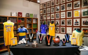 CULVER CITY, CALIFORNIA - MAY 18: Sports memorabilia is displayed at a press preview for sports legends featuring Kobe Bryant, FIFA and Olympic Medals at Julien's Auctions on May 18, 2020 in Culver City, California. (Photo by Rich Fury/Getty Images)