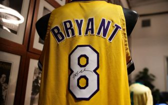 CULVER CITY, CALIFORNIA - MAY 18: A Kobe Bryant signed and game worn jersey is displayed at a press preview for sports legends featuring Kobe Bryant, FIFA and Olympic Medals at Julien's Auctions on May 18, 2020 in Culver City, California. (Photo by Rich Fury/Getty Images)