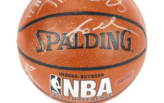 UNSPECIFIED,  - MAY 01: (EDITORIAL USE ONLY) This handout image provided by Julien's Auctions shows a Spalding NBA All-Conference basketball signed by the members of the 2009-2010 Los Angeles Lakers. The basketball is signed in silver marker by Kobe Bryant, Ron Artest, Shannon Brown, Andrew Bynum, Jordan Farmar, Derek Fisher, Pau Gasol, Didier Ilunga-Mbenga, Adam Morrison, Lamar Odom, Josh Powell, Sasha Vujacic, and Luke Walton. The Sports Legends auction, hosted by Julien's Auctions, will take place on May 21, 2020, and features over 300 historic sports artifacts including Kobe Bryant game-worn items, as well as a collection of FIFA World Cup, Confederations Cup and Olympic Medals.  (Photo by Handout/Julien's Auctions via Getty Images)