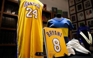 CULVER CITY, CALIFORNIA - MAY 18: A collection of Kobe Bryant signed and game worn items are displayed at a press preview for sports legends featuring Kobe Bryant, FIFA and Olympic Medals at Julien's Auctions on May 18, 2020 in Culver City, California. (Photo by Rich Fury/Getty Images)