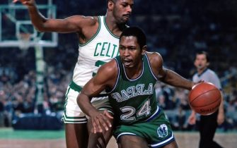 BOSTON - 1984:  Mark Aguirre #24 of the Dallas Mavericks drives the ball up court against the Boston Celtics during a game played in 1984 at the Boston Garden in Boston, Massachusetts. NOTE TO USER: User expressly acknowledges and agrees that, by downloading and or using this photograph, User is consenting to the terms and conditions of the Getty Images License Agreement. Mandatory Copyright Notice: Copyright 1984 NBAE (Photo by Dick Raphael/NBAE via Getty Images)