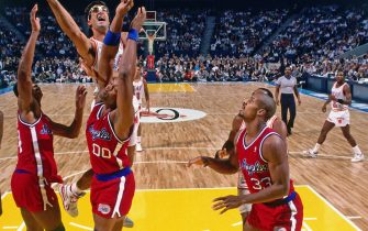 MIAMI - 1988:  Rony Seikaly #4 of the Miami Heat goes up for a shot against the Los Angeles Clippers during a game played circa 1988 at Miami Arena in Miami, Florida. NOTE TO USER: User expressly acknowledges and agrees that, by downloading and/or using this photograph, user is consenting to the terms and conditions of the Getty Images License Agreement.  Mandatory Copyright Notice: Copyright 1988 NBAE (Photo by Andrew D. Bernstein/NBAE via Getty Images)