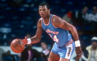 LANDOVER, MD - CIRCA 1982:  Terry Cummings #34 of the San Diego Clippers dribbles the ball up court against the Washington Bullets during an NBA basketball game circa 1982 at the Capital Centre in Landover, Maryland. Cummings played for the Clippers from 1982-84. (Photo by Focus on Sport/Getty Images) *** Local Caption *** Terry Cummings