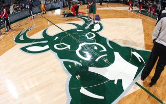 MILWAUKEE, WI - NOVEMBER 27: The Milwaukee Bucks logo before a game against the Washington Wizards on November 27, 2013 at the BMO Harris Bradley Center in Milwaukee, Wisconsin. NOTE TO USER:  User expressly acknowledges and agrees that, by downloading and or using this Photograph, user is consenting to the terms and conditions of the Getty Images License Agreement.  Mandatory Copyright Notice:  Copyright 2013 NBAE (Photo by Gary Dineen/NBAE via Getty Images)