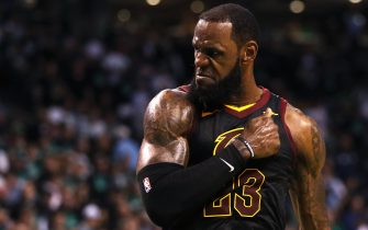 BOSTON, MA - MAY 27: LeBron James #23 of the Cleveland Cavaliers reacts during Game Seven of the 2018 NBA Eastern Conference Finals against the Boston Celtics at TD Garden on May 27, 2018 in Boston, Massachusetts. (Photo by Maddie Meyer/Getty Images)