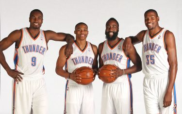EDMOND, OK - OCTOBER 1: Serge Ibaka #9, Russell Westbrook #0, James Harden #13 and Kevin Durant of the Oklahoma City Thunder pose for a portrait during 2012 NBA Media Day on October 1, 2012 at the Thunder Events Center in Edmond, Oklahoma. NOTE TO USER: User expressly acknowledges and agrees that, by downloading and or using this Photograph, user is consenting to the terms and conditions of the Getty Images License Agreement. Mandatory Copyright Notice: Copyright 2011 NBAE (Photo by Layne Murdoch/NBAE via Getty Images)