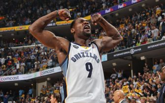 MEMPHIS, TN - MAY 3: Tony Allen #9 of the Memphis Grizzlies celebrates while playing the Los Angeles Clippers in Game Six of the Western Conference Quarterfinals during the 2013 NBA Playoffs on May 3, 2013 at FedExForum in Memphis, Tennessee. NOTE TO USER: User expressly acknowledges and agrees that, by downloading and or using this photograph, User is consenting to the terms and conditions of the Getty Images License Agreement. Mandatory Copyright Notice: Copyright 2013 NBAE (Photo by Joe Murphy/NBAE via Getty Images)
